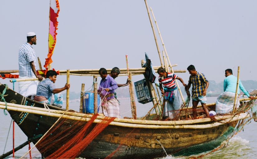Fishermen in the coastal area