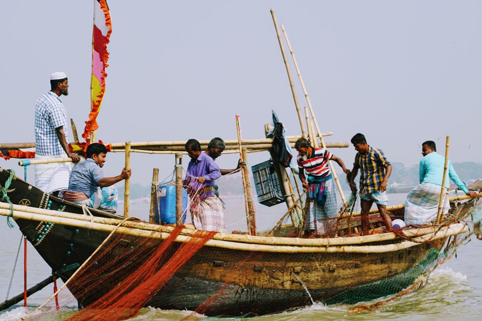 Fishermen in the coastal area